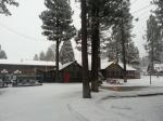 Cabins covered with snow at Big Bear Lake