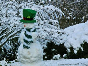 Snowman dressed as a leprechaun