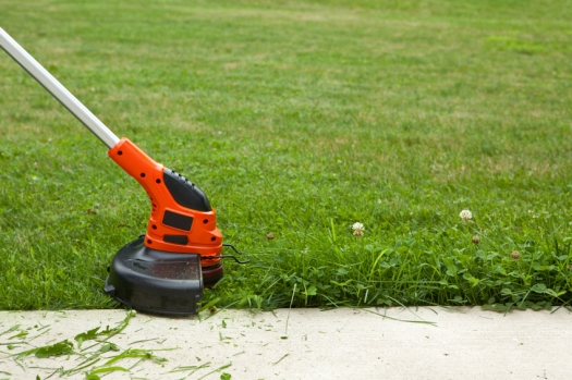 Close-up of a string weed trimmer trimming the grass along a concrete sidewalk.
