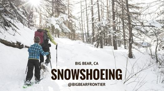 man and child snowshoeing