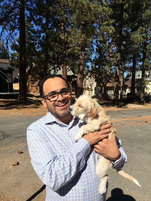 Big bear Frontier General Manager Ryan Vazquez and his dog, Lillie